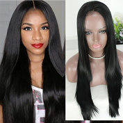 PlatinumHair heat resistant black straight wig synthetic lace front straight wigs for black women 70cm