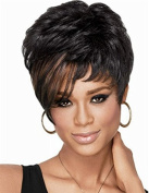 Hmy Fashion Short Mixed Colour Straight Side Bangs Synthetic Hair Wig for Women