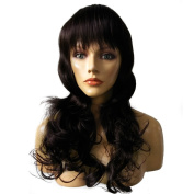 Namecute Long Brown Wavy Lace Top Wig for Women with Bangs