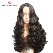 Imcolorful Synthetic Lace Front Wig Full Long Wavy Curly Hair Wigs for Women