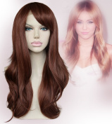 Cbwigs Synthetic Wavy Hair Fibre Heat Resistant Lace Front Wigs with Bangs 150% Density Mixed Colour 30y/35#