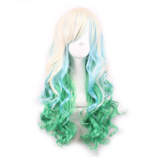 MOCOO Heat Resistant Spiral Long Wavy Harajuku Style Wig +Fashion Women Cosplay /Party Costume Wig(Lingt Blonde/ Blue/ Green)JF006C