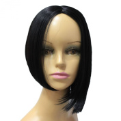 Capless Black Short Asymmetric Length Straight Side Bangs Synthetic Hair Wig