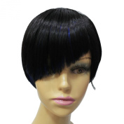 Capless Black Mixed Colour Short Straight Side Bangs Synthetic Hair Wig for Women