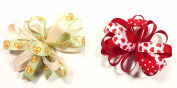 Valentines Day Unique Novelty Love Hearts Set of Two French Clip Barette Hair Bows for Girls
