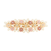 Icing Pink and Ivory Enamel Flowers Hair Clip