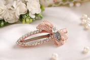 Blingy's® Classic Oval Shaped Crystal Rhinestone Style Hair Clips/Barrette/Duck Bill Clip/Hairpin/Bobby Pin with Bow-One Piece Set (Packed with Our Blingy's® Bag)