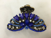 Gorgeous Vintage Jewellery Crystal Rhinestone Flower Design Fashion Hair Claw Clips Hair Jaws Hair Jaw Clips -X- Large Size - Sapphire Blue Colour -For Thick Hair Beauty Tools