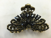 Gorgeous Vintage Jewellery Crystal Rhinestone Flower Design Fashion Hair Claw Clips Hair Jaws Hair Jaw Clips -X- Large Size - Onyx Black Colour -For Thick Hair Beauty Tools