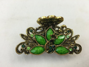 Gorgeous Vintage Jewellery Crystal Rhinestone Peacock Design Fashion Hair Claw Clips Hair Jaws Hair Jaw Clips - Large Size - Lime Green Colour -For Thick Hair Beauty Tools
