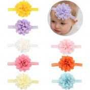 V-noah Hollow Tunnel Vertigo Elastic Baby Headband 8pcs Multi-colour
