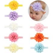 V-noah Hollow Tunnel Vertigo Elastic Baby Headband 8pcs Multi-colour