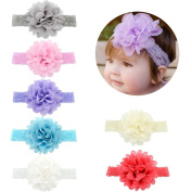V-noah Chiffon Flower With Stretch Lace Elastic Children's Hair Band 7pcs Multi-colour