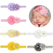 V-noah Elastic With Diamond Polygonal Flower Old Flash Flower Baby Hair Band 6pcs Multi-colour