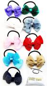 H103-AP Style Vault Pack of 9 Kids Girls 7.6cm Wide Bow Elastic Hair Ties