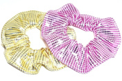 Pink and Yellow Foil Sequin Hair Scrunchie Set of 2 Handmade by Scrunchies by Sherry