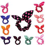 ZWZCYZ Wholesale 100pcs mixture Rabbit Ear Dots Hairband Women Hair Band Ponytail Holder