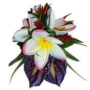 HAWAIIAN TROPICAL FLOWERS HULA DANCER HAIR ORNAMENT CLIP- HAND MADE