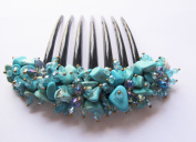 French twist hair comb Ornamented along the top of the heading with Stone Turquoise