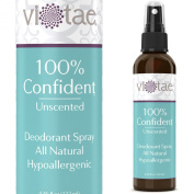 100% Natural. Aluminium Free, Deodorant Spray - Unscented - '100% Confident' - Use Underarm, On Hands & On Feet. Aluminium Free - by Vi-Tae® 130ml
