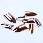 ECBASKET Nail Art Tips V shape Shine Champagne Gold Metallic Nail Tips Acrylic Fake Nails Gift