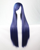 Womens Ladies Girls 80cm Indigo Colour Long Straight Wigs High Quality Hair Carve Cosplay Costume Anime Party Bangs Full Sexy Wigs