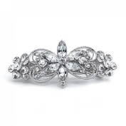 Hair Barrette Vintage Flower Rhinestone Crystal Wedding Hair Accessory 7cm
