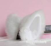 Hot Sweet Lovely Anime Lolita Cosplay Fancy Neko Cat Ears Hair Clip White