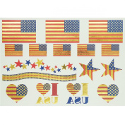 Tastto American Flag Metallic Temporary Tattoos Sticker with GIFT-1 Sheet of 16 Tattoos