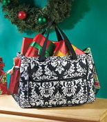 Oversized Damask Multi-Pocket Utility Tote