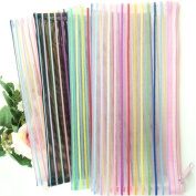 Lady Mini Random Colour Portable Nylon Clear Hollow Mesh Lines Stripe Wallet Case Makeup Cosmetic Bag