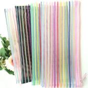 Lady Mini Random Colour Portable Nylon Clear Hollow Mesh Lines Stripe Wallet Case Makeup Cosmetic Bag