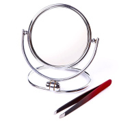 Premium 7.6cm Travel and Home Folding Dual Mirror Set - 1x and 5x Magnification with BONUS Stainless Steel Tweezers