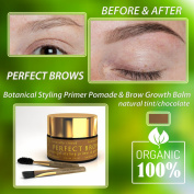 Perfect Brows (TM) 100% Botanical Styling Primer Pomade and Brow Care Balm w/2PC Mini-Brush Set. O.6 Oz/ 18 Ml. Organic Brow Styling Pomade for Fuller Natural Brows.