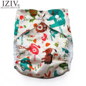 iZiv(TM) Newborn Organic Infant Premium Waterproof Adjustable Reusable Washable Pocket Cloth Nappy Prevent Side Leakage Inserts Fit Babies 0-3 Years