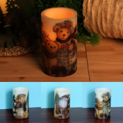 Home Impressions 7.6cm x 13cm Lovely Bear Decal Flameless Led Pillar Pillar Candle light with Timer,Battery Operated