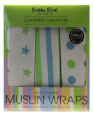 Bubba Blue 3-Pack Muslin Wraps, Boy