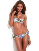 RELLECIGA Women's Bandeau Bikini Removable Halter Strap Swimwear