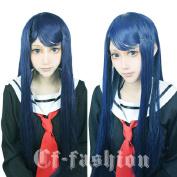 Cf-fashion Danganronpa Sayaka Maizono Cosplay Wig Costume Dark Blue Party Wigs