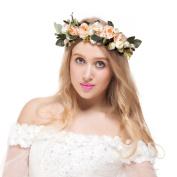Valdler Vintage Aesthete Nature Flower Berries Reeds Big Leaves Crown Headband Halo with Adjustable Ribbon for Woodland Wedding Festivals Champagne