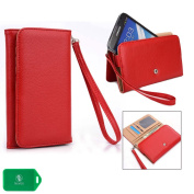 Red Cellphone wallet case wristlet helps keeps your phone, cash and cards organised| New Ships out of the USA|Universal fit for