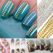 3M Steel Ball Beads Striping Tape Line Nail Art Gel DIY Decorations Silver
