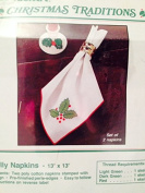 Christmas Holly Napkins 33cm X 33cm Needlepoint Kit 2 Napkins