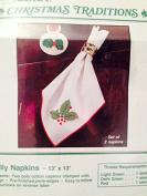 Christmas Holly Napkins 33cm X 33cm Needlepoint Kit 2 Napkins