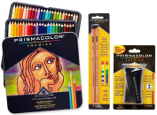 Prismacolor Premier Coloured Pencil and Accessory Set, Set of 48 Premier Coloured Pencils, One Premier Pencil Sharpener, and a 2-pack of Prismacolor Premier Colourless Blender Pencils
