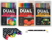 Tombow Dual Brush Pen Art Markers with Primary, Bright and Secondary Colours.