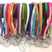 12 Pc You Choice Any Pu Leather / Glitter Wristlets Keychain Fits Diy 8mm Letters and Charms/ Bling Keychain / Wholesale Keychain / Bulk