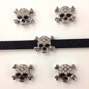 Set of 20 Pc Silver Rhinestone Skull Slide Charm Fits 8mm Wristband for Jewellery /Crafting