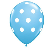 28cm Baby Blue & White Polka Dot Latex Balloon - Set of 6