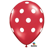 28cm Red & White Polka Dot Latex Balloon - Set of 6